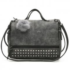 Nubuck Leather  Top-handle Bags Rivet Larger Women Bags Pom Pom Shoulder Bag gray larger