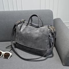 Nubuck Leather women handbag Vintage Messenger Bag Motorcycle Crossbody Bags Women Bag dark gray larger