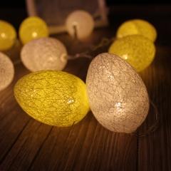 Easter Egg LED String Light 7ft 20 LED Battery Operated Seasonal Decorative Lights White+Yellow 7Ft 0.05w
