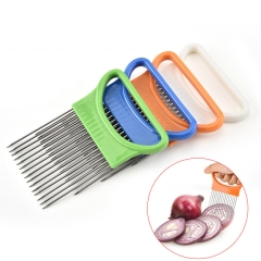 Kitchen Gadgets Handy Stainless Steel Onion Holder Tomato Slicer Vegetable Cutter orange one size
