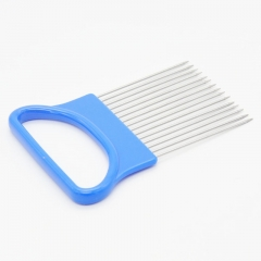 Kitchen Gadgets Handy Stainless Steel Onion Holder Tomato Slicer Vegetable Cutter blue one size