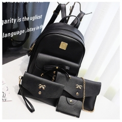 Manja Fashion Composite Bag Leather Backpack Women Cute 4 Sets Bag Backpacks For Girls Bags black one size