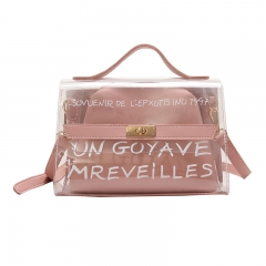 Manja Handbag Women Bag Clear Jelly Transparent PVC Bag Candy Color Tote Bag Crossbody Bag pink one size