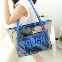 Manja 2018 fashion women's bag girl's bag handle bag shoulder bag Candy bag 2 bags blue one size