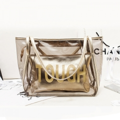 Manja 2018 fashion women's bag girl's bag handle bag shoulder bag Candy bag 2 bags gold one size