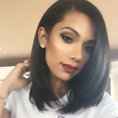 Short Lace Front Human Hair Wigs Bob Wig with Pre Plucked Hairline black one size