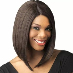 Short Lace Front Human Hair Wigs Bob Wig with Pre Plucked Hairline dark brown one size