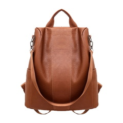 Manja Fashion Women PU Leather Large-capacity Youth Backpacks For Teenage School Shoulder Bag brown one size