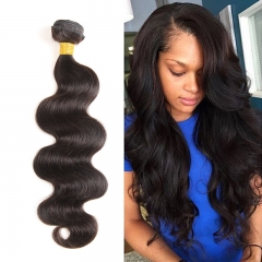 Ushow 9A Top Quality Brazilian Body Wave Hair Weave Bundles 100% Human Hair Bundles 1pc natural black 10inch