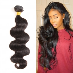 Peruvian Body Wave Virgin Hair Extensions 8-30 inch 100% Human Hair Weave Bundles #1b black 22inch