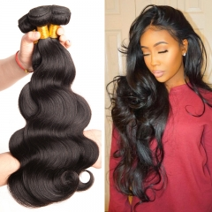 3 Bundle Peruvian Body Wave 8-30 inches Black 100% Human Hair Weave Bundle #1b black 16 16 16 inch