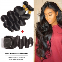 Brazilian Body Wave 100% Human Hair 3 Bundles With 4x4 Lace Closure Hair Weave Bundles With Closure #1b black 10 10 10inch+8inch