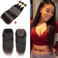 Brazilian Virgin Hair Straight Human Hair 3 PCS Bundles With 4x4 Lace Closure Human Hair Weft #1b black 10 10 10inch+8inch