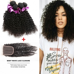 Ushow Top 9A Brazilian Kinky Curly Human Hair 3 Bundles With Closure 100% Human Virgin Hair natural black 10 10 10inch+8inch