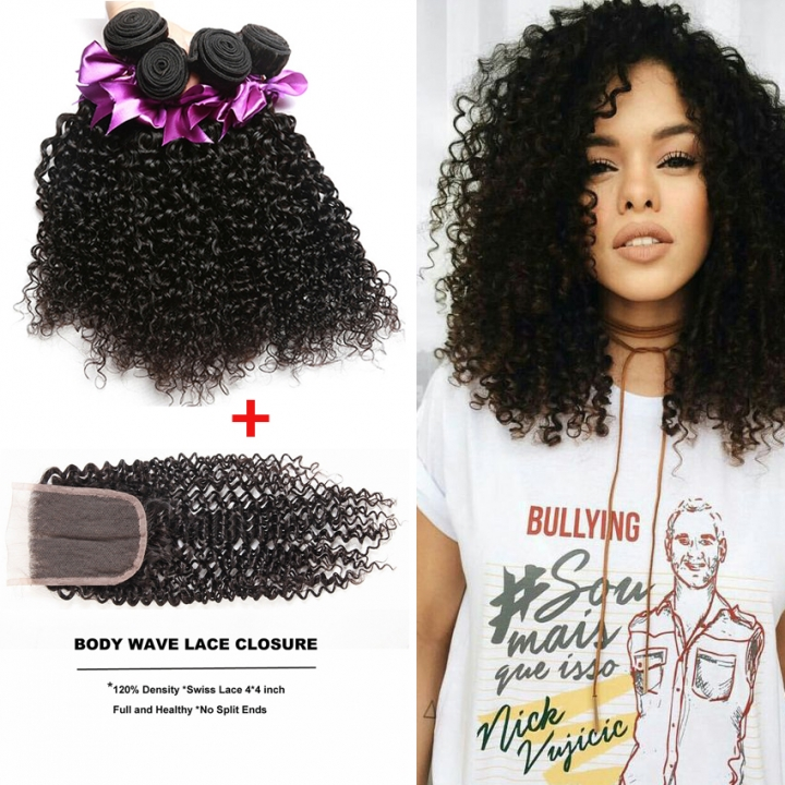 Kilimall Brazilian Curly Hair 3 Bundles With 44 Lace Closure 100