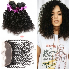 Ushow 9A Brazilian Kinky Curly Hair 3 Bundles With 13*4 Ear To Ear Closure 100% Human Virgin Hair natural black 10 10 10inch+8inch