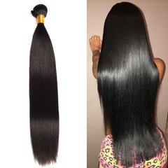 Ushow 9A Top Quality Brazilian Straight Hair Weave Bundles 100% Human Hair Bundles 1pc natural black 10inch