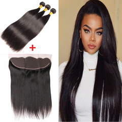 Ushow 9A Brazilian Straight Human Hair 3 Bundles With 13*4 Ear To Ear Closure 100% Human Virgin Hair natural black 10 10 10inch+8inch