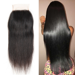Ushow 9A Top Quality Brazilian Straight 100% Human Virgin Hair 4X4 Lace Closure natural black 10inch