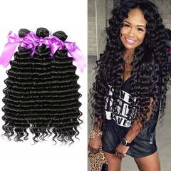 Ushow 9A Top Quality Brazilian Deep Wave Hair Weave Bundles 100% Human Hair Bundles 1pc natural black 10inch
