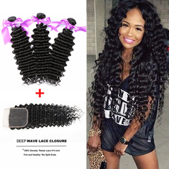 Ushow Top 9A Brazilian Deep Wave  Human Hair 3 Bundles With Closure 100% Human Virgin Hair 100g/1PCS natural black 10 10 10inch+8inch