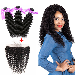 Ushow 9A Brazilian Deep Wave Hair 3 Bundles With 13*4 Ear To Ear Closure 100% Human Virgin Hair natural black 10 10 10inch+8inch