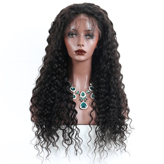 Ushow 9A Brazilian Deep Wave Virgin Hair Full Lace Wigs Pre Plucked Natural Hairline With Baby Hair natural black 10inch