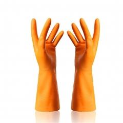 Dishwashing Latex Gloves Waterproof Rubber Gloves for Car-washing Laundry Household 1 Pair orange one size