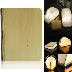 Wooden Folding LED Book Shaped Light, USB Rechargeable Warm White Night Light Magnetic Desk Lamp one color 21.6cm 3.7v