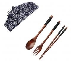 Wooden Sushi Chopsticks Fork Spoon Set Kitchen Dining Flatware Set Party Christams Home Supplies black one size