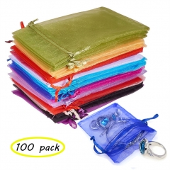 Organza Gift Bags with Drawstring 5'' x 7'' Wedding Party Gift Bags Jewelry Watch Pouches 100pcs mixed color 13 x 18cm