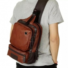 AOLIDA Men Sling Bag Genuine Leather Unbalance Chest Shoulder Bags Casual Crossbody Bag Travel brown one size