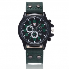 Men's Fashion Watch Quartz Wristwatches Leather Watch Fashion Accessory Father's Day Gift green 14-26cm