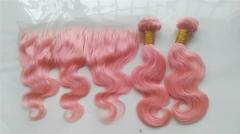 8A Brazilian Hair Colorful Bundles Body Wave 100g *1 pink 12 inch