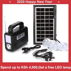 FBK Solar Panel Charging/Discharging Camping Lighting Lamp With FM MP3 Player System Device Black 2.0Kg
