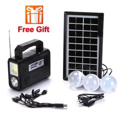 FBK Solar Panel Charging/Discharging Camping Lighting Lamp With FM MP3 Player System Device double lighting 2.0Kg
