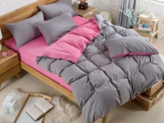 4Pcs Gray and Pink High Quality Pure Color Bedding Set/ Duvet Cover per picture 4*6