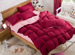 4Pcs Red and Pink High Quality Pure Color Bedding Set/ Duvet Cover per picture 5*6