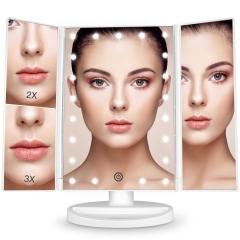 LED 180° Adjustable Trifold Makeup Mirror Black
