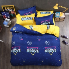Homeinn Grove Printed Blue Cotton 4Pcs Duvet Cover Bedding Set for Bedroom Domitory as picture 5*6