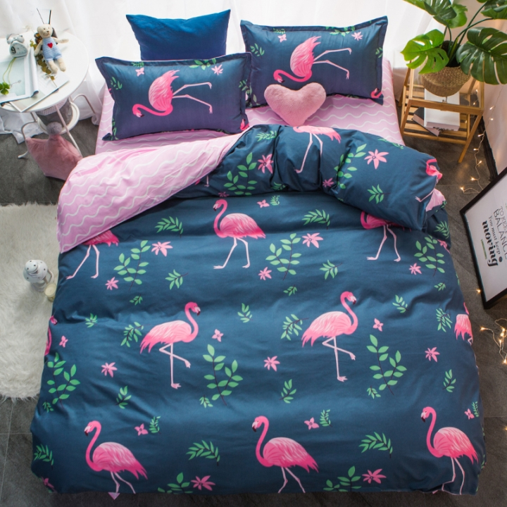 Homeinn Flamingo Blue Cotton 4Pcs Duvet Cover Bedding Set for Bedroom Domitory as picture 5*6