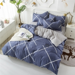 Homeinn Grid Polyester 4Pcs Duvet Cover Bedding Set for Bedroom Domitory as picture 4*6