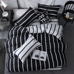 Homeinn White Stripes Printed Black 4Pcs Duvet Cover Bedding Set for Bedroom as picture 4*6