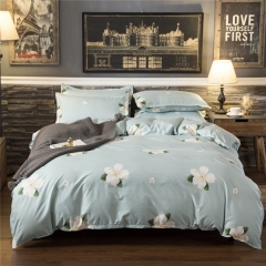 Homeinn Polyester Cotton Blended 4Pieces Flowers Printed Light Blue Bedding Set/Duvet Cover Set as picture 4*6