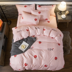 Homeinn Polyester Cotton Blended 4Pieces Strawberries Printed Bedding Set/Duvet Cover Set as picture 4*6