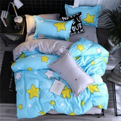 Homeinn Polyester Cotton Blended 4Pieces White and Yellow Stars Printed Bedding Set/Duvet Cover Set as picture 4*6