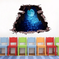 3D 19.68*27.55in PVC Moon Scenery Blue Home Decoration Wall Sticker as picture one size