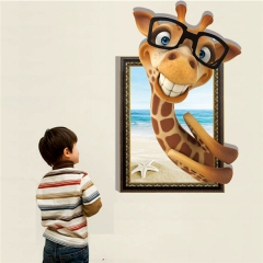 3D PVC 23.62*35.43in Giraffe Home Decoration Wall Sticker as picture one size