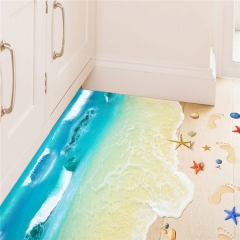 3D PVC Seaworld Scenery Light Blue Home Decoration Wall Sticker Floor Mural as picture one size