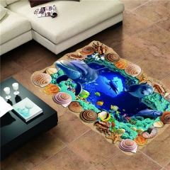 3D PVC Seaworld Blue Home Decoration Wall Sticker Floor Mural as picture one size